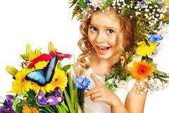 Little girl with flower hairstyle. Royalty Free Stock Image