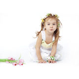 Little girl in flower dress Royalty Free Stock Image