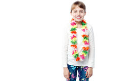 Little girl with flower garland Stock Images