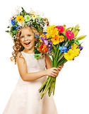 Little girl with flower hairstyle. Royalty Free Stock Photography