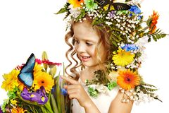 Little girl with flower hairstyle. Stock Photo