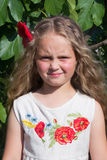 Little girl with a flower in her hair. The photo shows a little girl in a dress with flowers and red poppies in her hair Stock Images