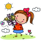 Little girl and flower. Illustration of little girl and flower Royalty Free Stock Images