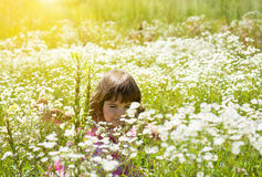 Little girl on the flower meadow Stock Photo