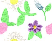 Little Girl Flower Pattern. Hand drawn, seamless flower pattern done in pencil and watercolor Stock Images