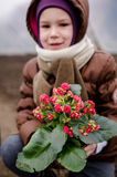 Little girl with flower Royalty Free Stock Photography
