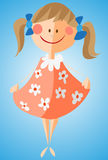 Little girl in flowered dress. Cartoon-like girl in rose dress with white flowers on it. Vector illustration, eps 10 format added. Adjustable colors, multiple Stock Photos