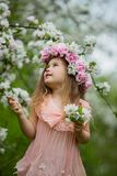 Little girl in a flowering garden Royalty Free Stock Images