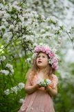 Little girl in a flowering garden Stock Image