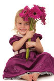 Little Girl and Flowers Royalty Free Stock Image