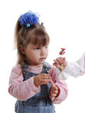 Little girl and flowers. Royalty Free Stock Photos
