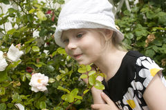 Little girl and flowers Royalty Free Stock Photo