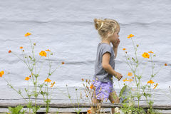 Little girl and flowers Stock Photos
