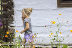 Little girl and flowers Stock Image