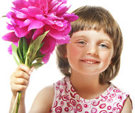 Little girl with  flowers gift Royalty Free Stock Photos