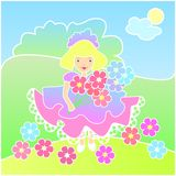 Little girl with flowers on the Meadow. Vector cartoon illustration Little girl with flowers Royalty Free Stock Photography