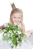 Little girl with flowers over white Royalty Free Stock Photo