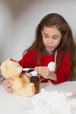 Little girl with flu, cold or fever at home Royalty Free Stock Photos