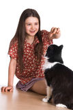 Little girl and fluffy cat Stock Image