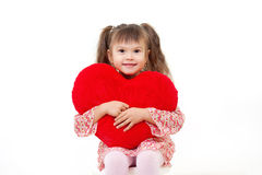 Little girl with fluffy heart Royalty Free Stock Images