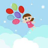 Little girl flying balloons. Stock Photo