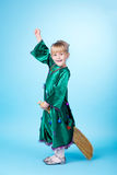 Little girl flying on broom Royalty Free Stock Photography