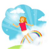 Little girl flying in the clouds Royalty Free Stock Photo