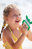 Little girl flying a kite Royalty Free Stock Photos