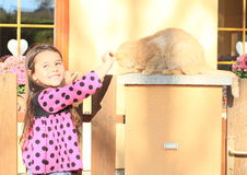 Little girl stroking a cat Stock Photography