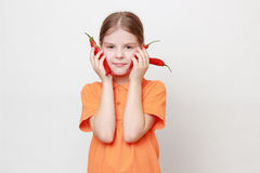 Little girl and food Royalty Free Stock Photography