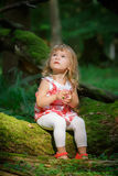 Little girl in the forest Stock Photography