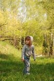Little girl is in the forest Royalty Free Stock Image