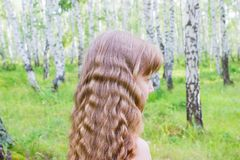 Little girl in the forest. Little blond girl with wavy hair in the forest Royalty Free Stock Images