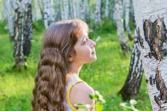 Little girl in the forest. Little blond girl with wavy hair in the forest Royalty Free Stock Photo