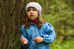 Little Girl In Forest. stock photography