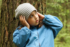 Little Girl In Forest. royalty free stock photography