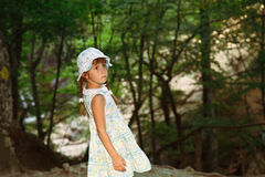 Little girl in the forrest Royalty Free Stock Image