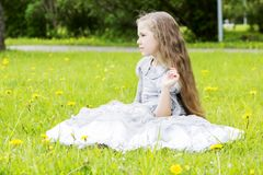 Little girl found somebody to play with Royalty Free Stock Photo