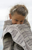 Little girl freezing Royalty Free Stock Image