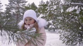 Little girl freezing in frosty woods. Front view cute girl trying get warm in winter forest. Cold teenage girl in frosty woods blowing on her hands while stock video