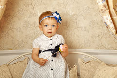 Little girl in French dress Royalty Free Stock Image