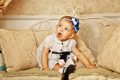 Little girl in French dress Stock Image