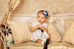 Little girl in French dress Stock Photo