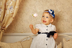 Little girl in French dress Royalty Free Stock Photo