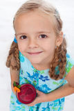 Little girl with fresh juice - top view Stock Photo