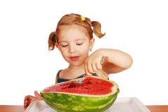 Little girl with fresh watermelon Stock Photo