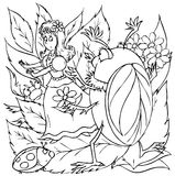 Little girl in fright from beetles. Black-and-white outline (for a coloring book) of a little girl that got scared the beetles (illustration of the fairy-tale stock illustration