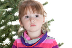 Little girl in front of undecorated fur tre Royalty Free Stock Images