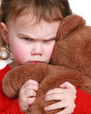 Little girl frowning royalty free stock photo