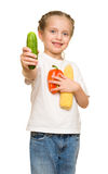 Little girl with fruits and vegetables on white Royalty Free Stock Photos